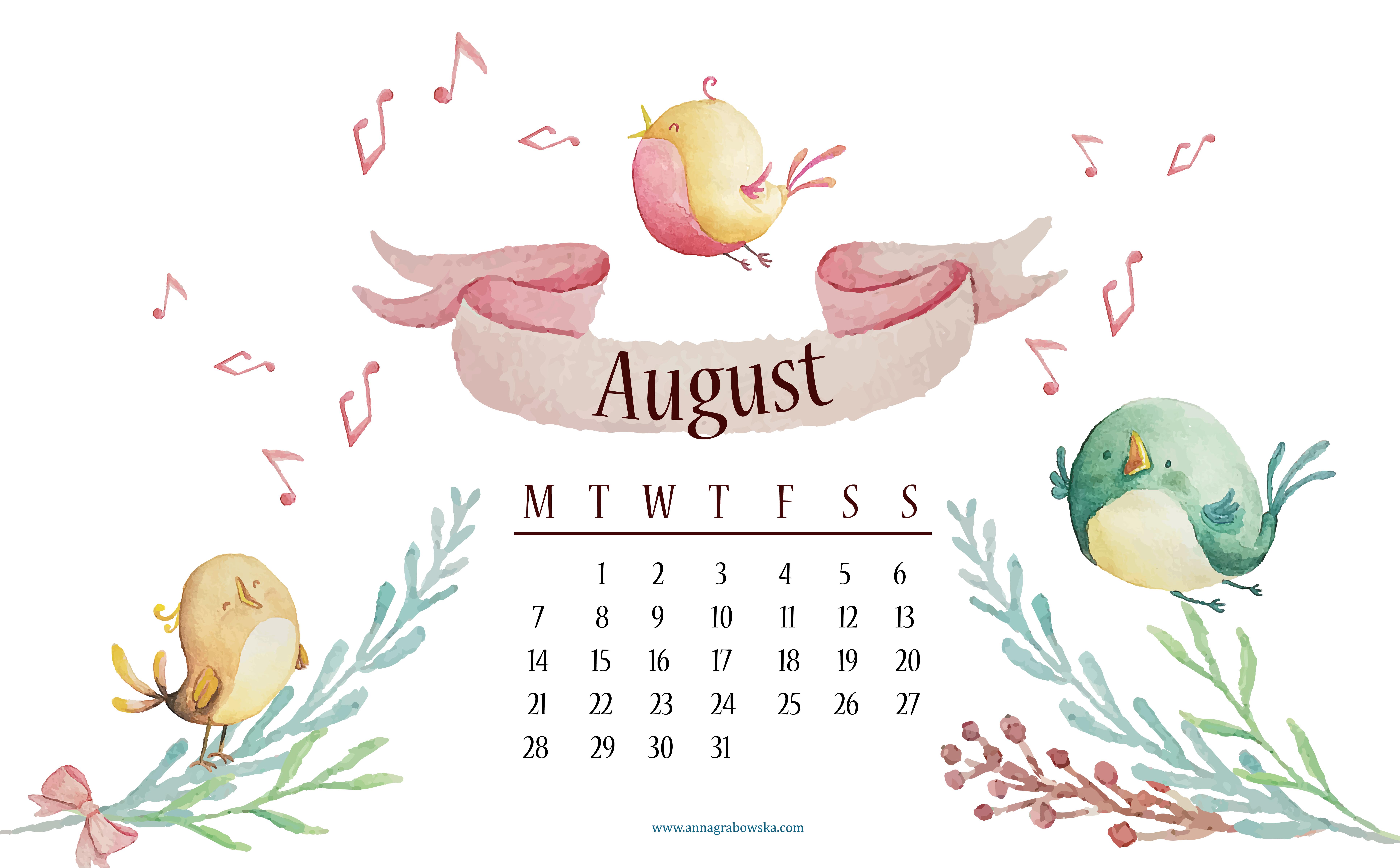 Darmowy kalendarz na sierpień