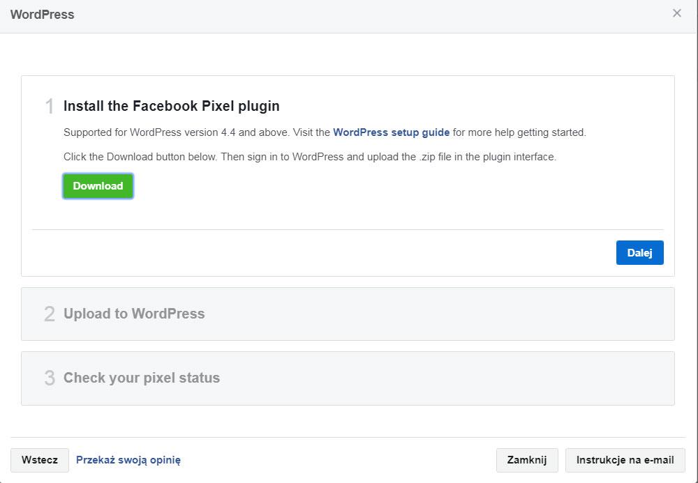 Piksel facebooka - krok 5
