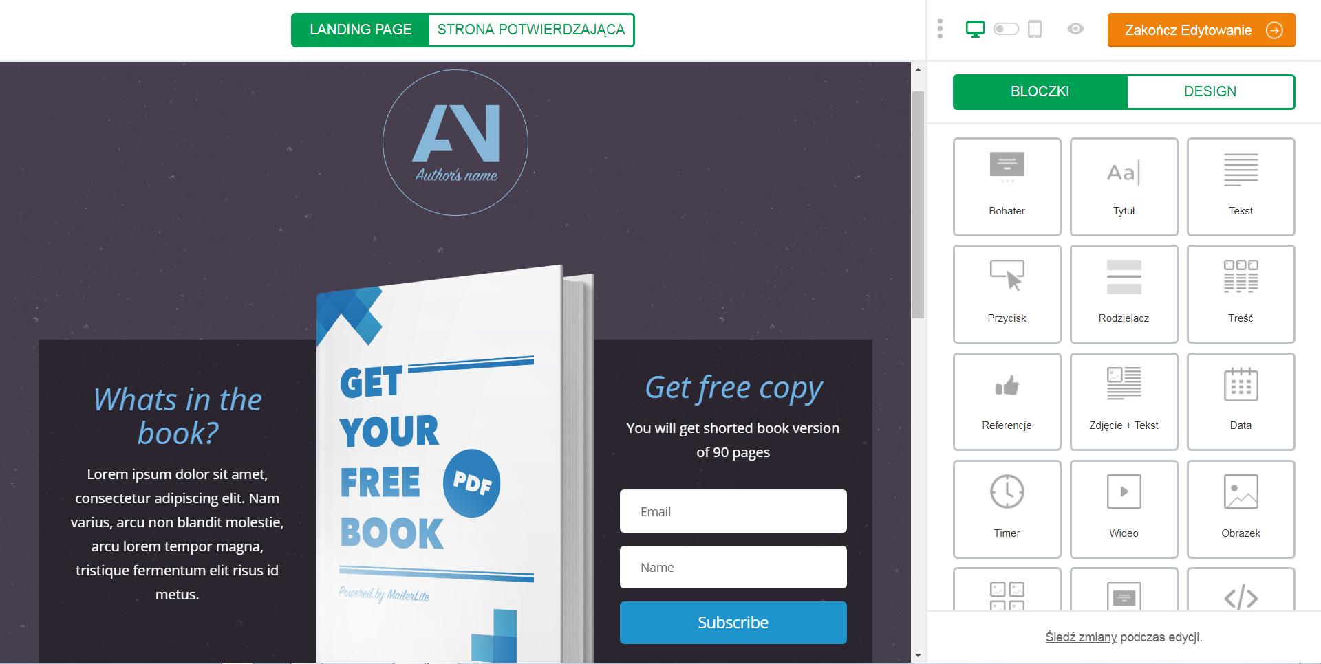 Mailer Lite – jak stworzyć Landing Page instrukcja krok po kroku