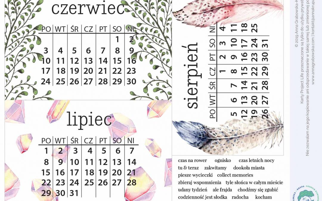 [Project Life] Karty na lato z nazwami miesięcy do pobrania