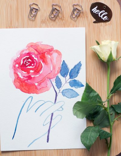 annagrabowska-akwarele-roza-z-ręką