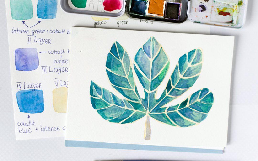 Jesienny akwarelowy liść – tutorial
